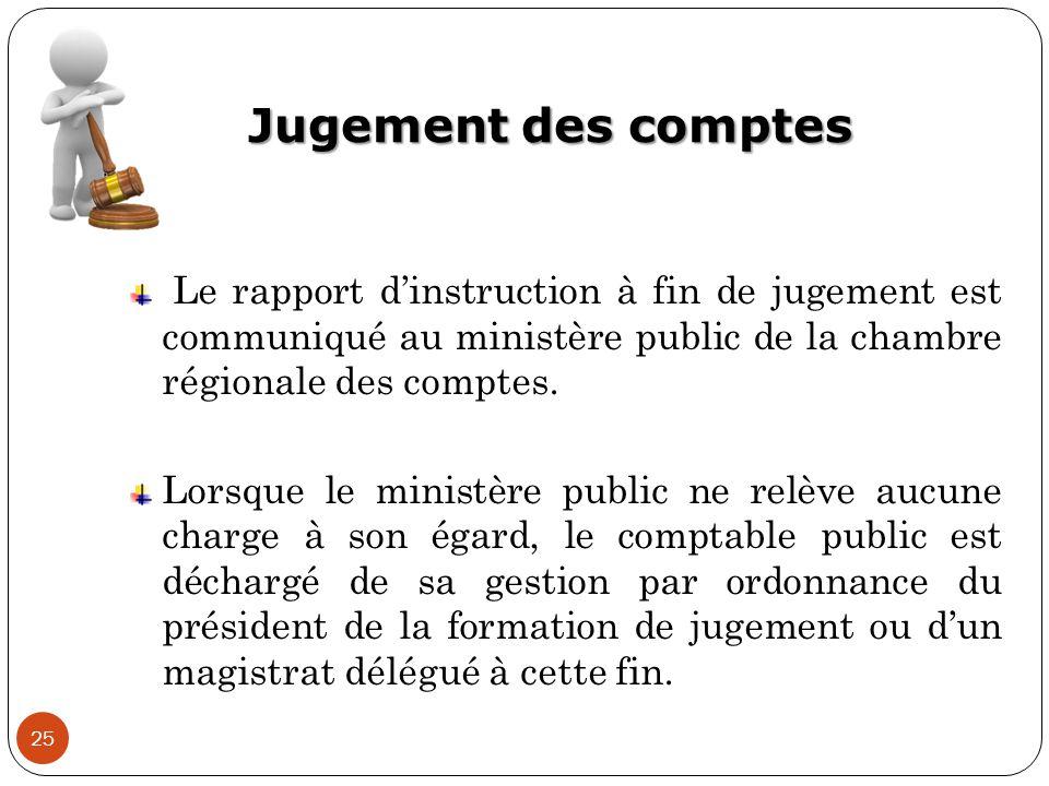 Jugement des comptes Le rapport d'instruction à fin de jugement est communiqué au ministère public de la chambre régionale des comptes.