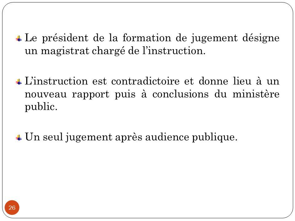 Le président de la formation de jugement désigne un magistrat chargé de l'instruction.