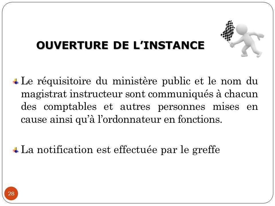OUVERTURE DE L'INSTANCE