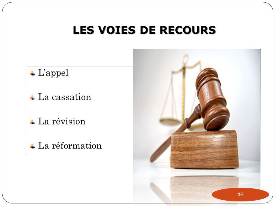 LES VOIES DE RECOURS L'appel La cassation La révision La réformation