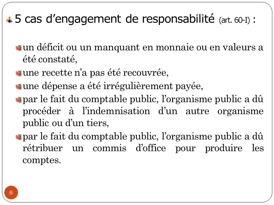 5 cas d'engagement de responsabilité (art. 60-I) :