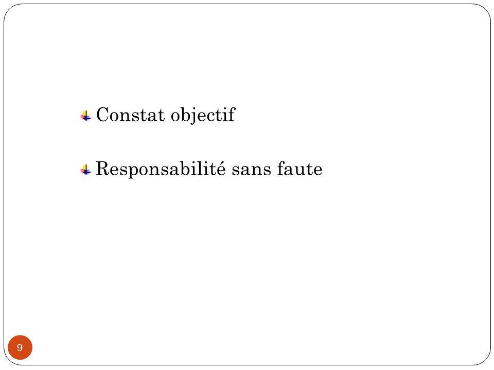 Constat objectif Responsabilité sans faute