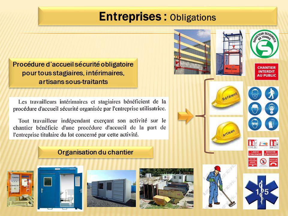 Entreprises : Obligations Organisation du chantier