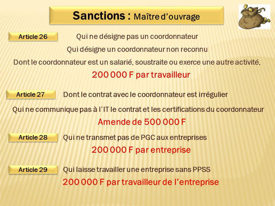 Sanctions : Maître d'ouvrage