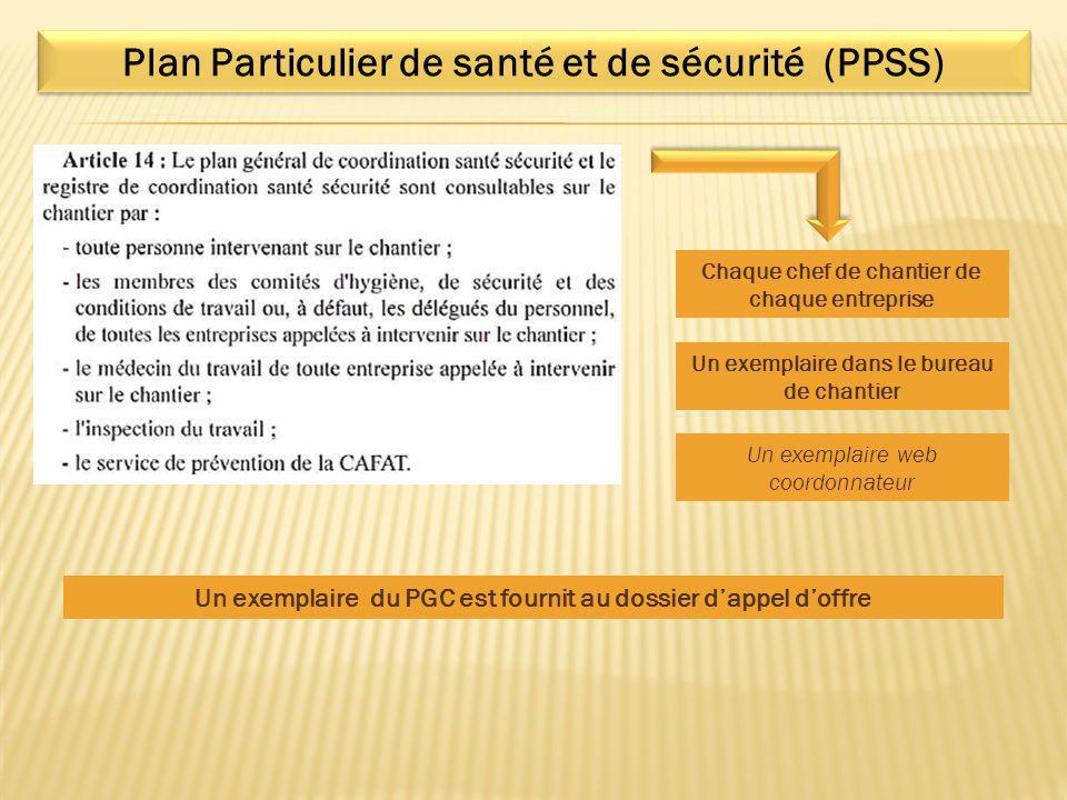 Plan Particulier de santé et de sécurité (PPSS)