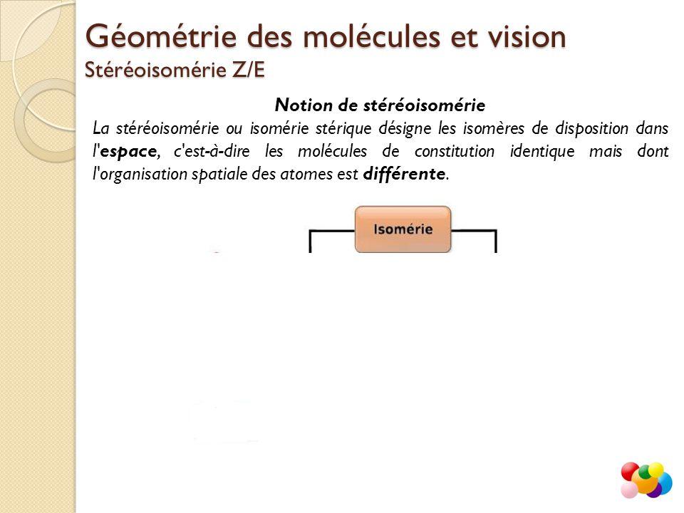 Géométrie des molécules et vision Stéréoisomérie Z/E