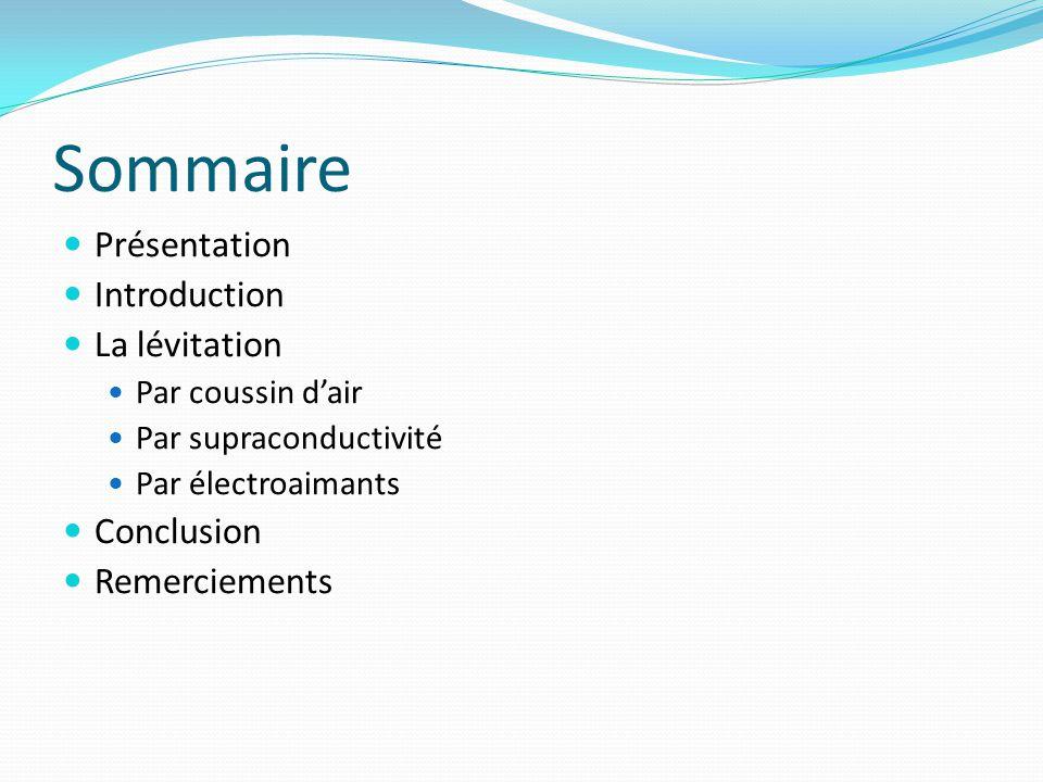 Sommaire Présentation Introduction La lévitation Conclusion