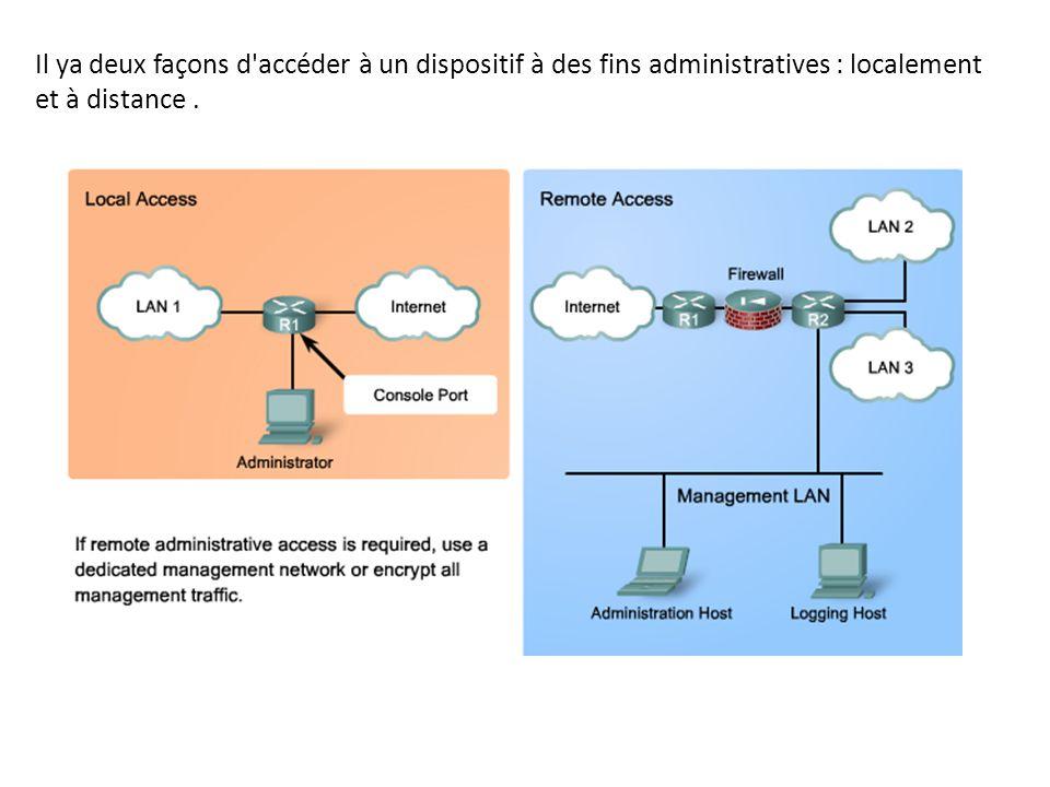Il ya deux façons d accéder à un dispositif à des fins administratives : localement et à distance .