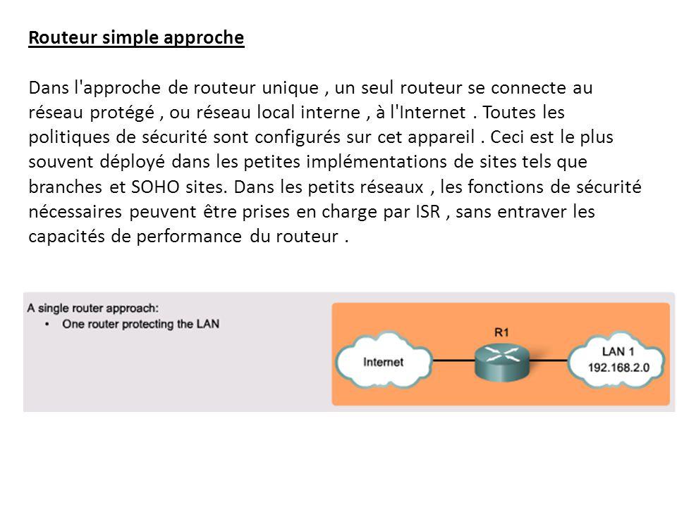 Routeur simple approche Dans l approche de routeur unique , un seul routeur se connecte au réseau protégé , ou réseau local interne , à l Internet .