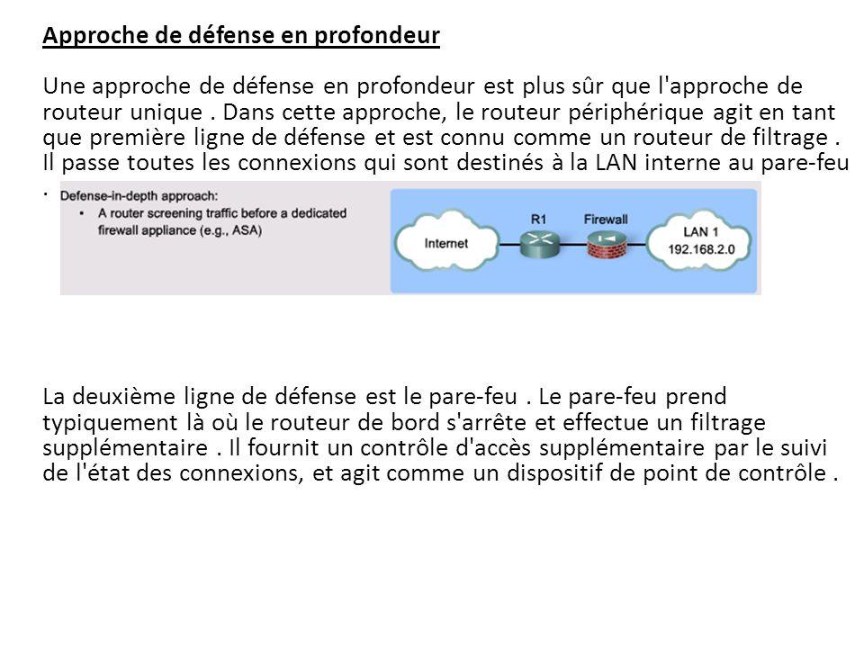 Approche de défense en profondeur Une approche de défense en profondeur est plus sûr que l approche de routeur unique . Dans cette approche, le routeur périphérique agit en tant que première ligne de défense et est connu comme un routeur de filtrage . Il passe toutes les connexions qui sont destinés à la LAN interne au pare-feu .