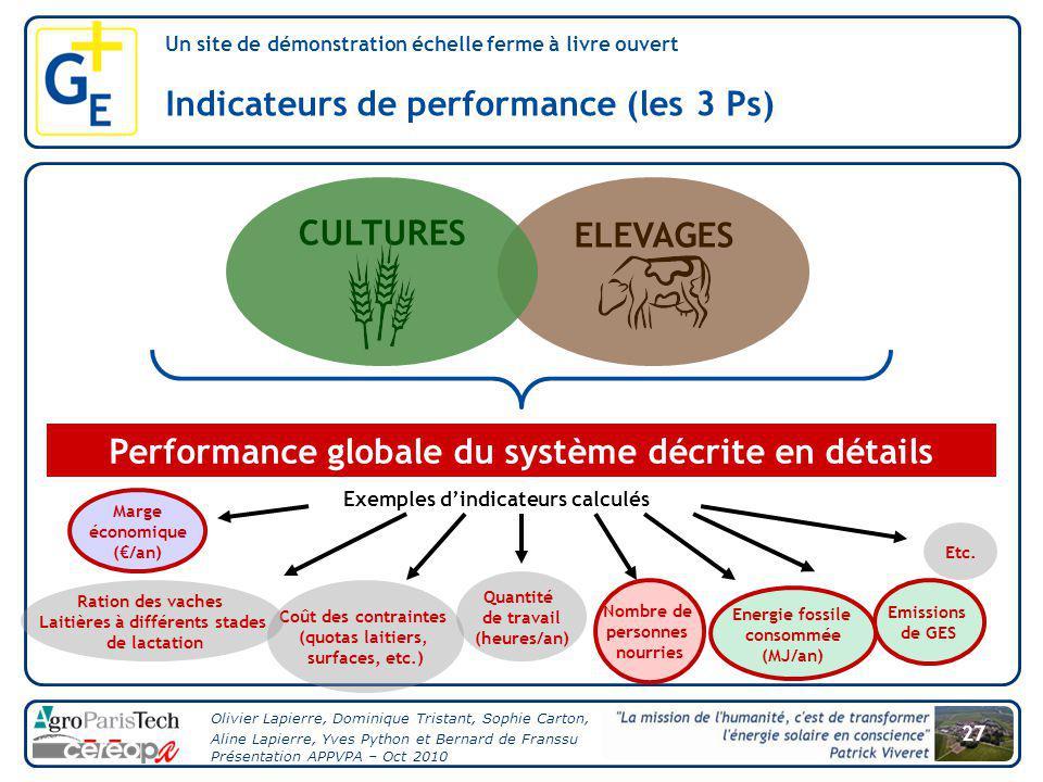 CULTURES ELEVAGES Performance globale du système décrite en détails