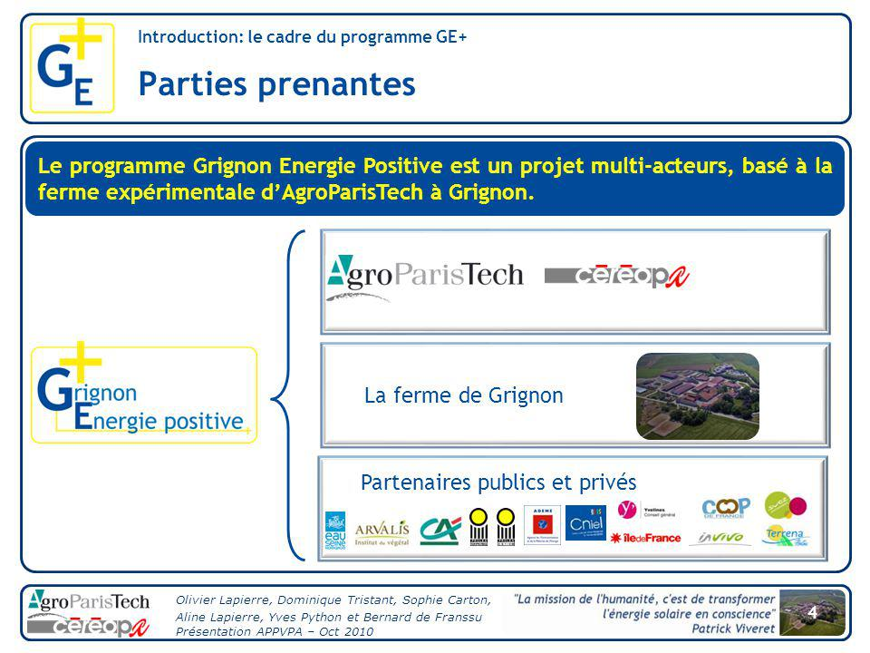 Introduction: le cadre du programme GE+