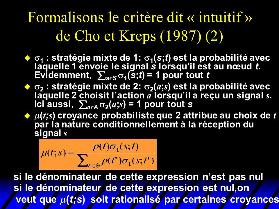 Formalisons le critère dit « intuitif » de Cho et Kreps (1987) (2)