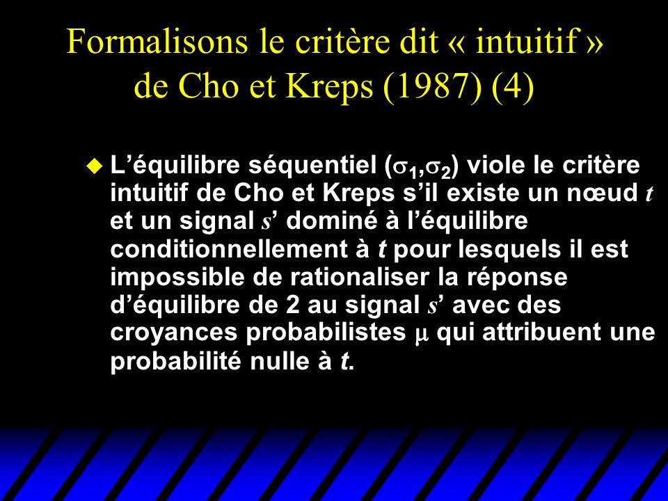 Formalisons le critère dit « intuitif » de Cho et Kreps (1987) (4)