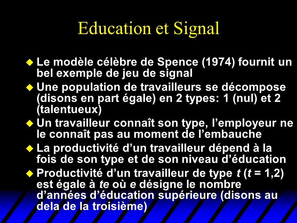 Education et Signal Le modèle célèbre de Spence (1974) fournit un bel exemple de jeu de signal.