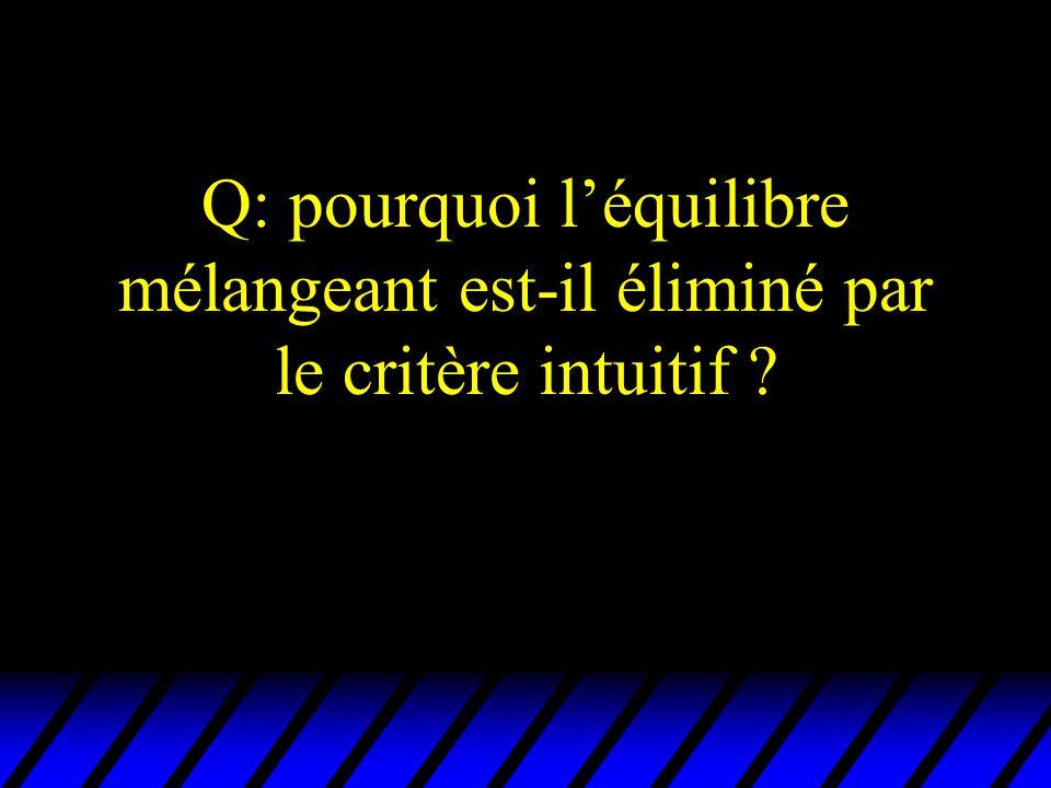 Q: pourquoi l'équilibre mélangeant est-il éliminé par le critère intuitif
