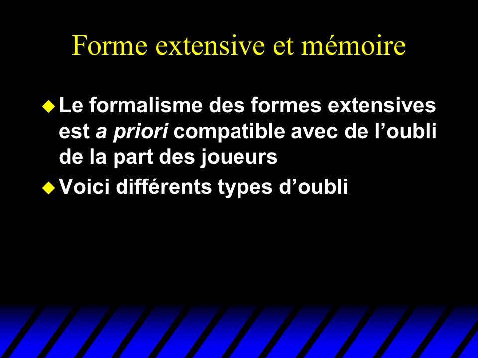 Forme extensive et mémoire