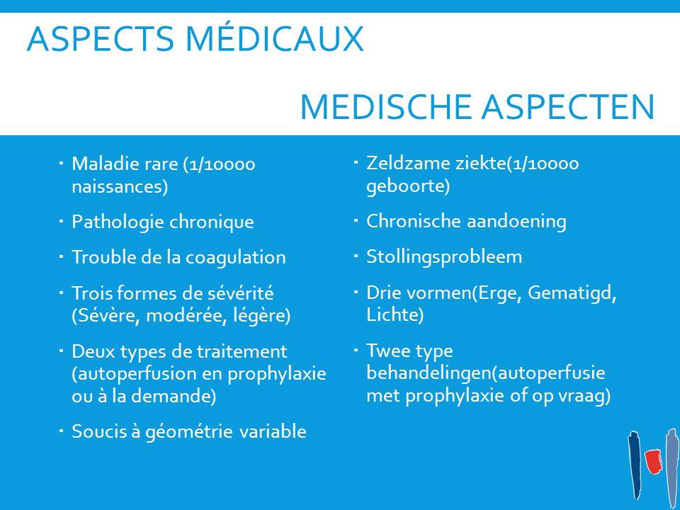 Aspects médicaux medische aspecten Maladie rare (1/10000 naissances)