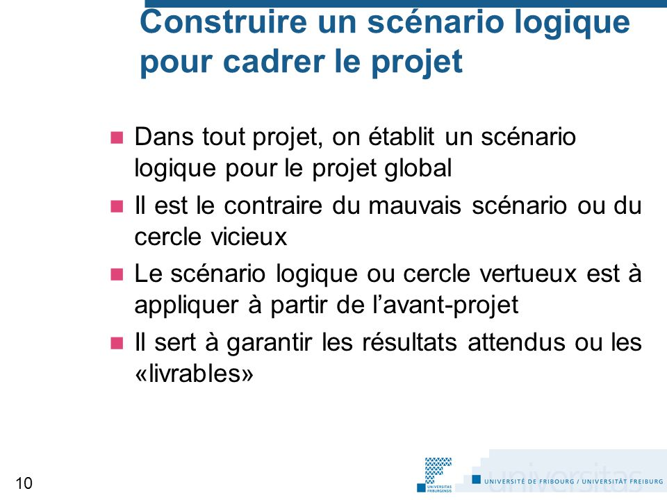 Construire un scénario logique pour cadrer le projet