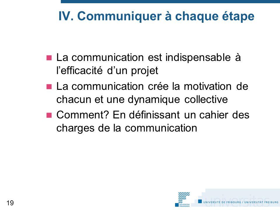 IV. Communiquer à chaque étape