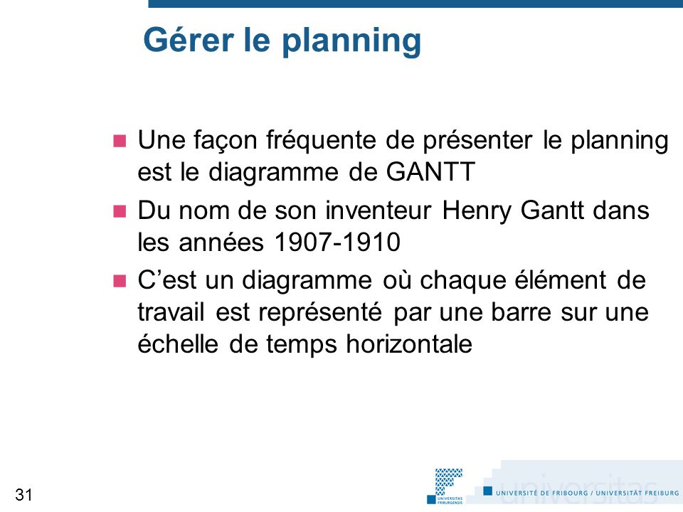 Gérer le planning Une façon fréquente de présenter le planning est le diagramme de GANTT.