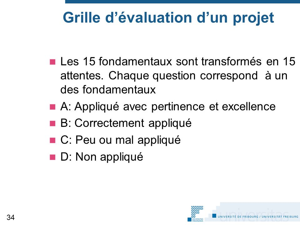 Grille d'évaluation d'un projet