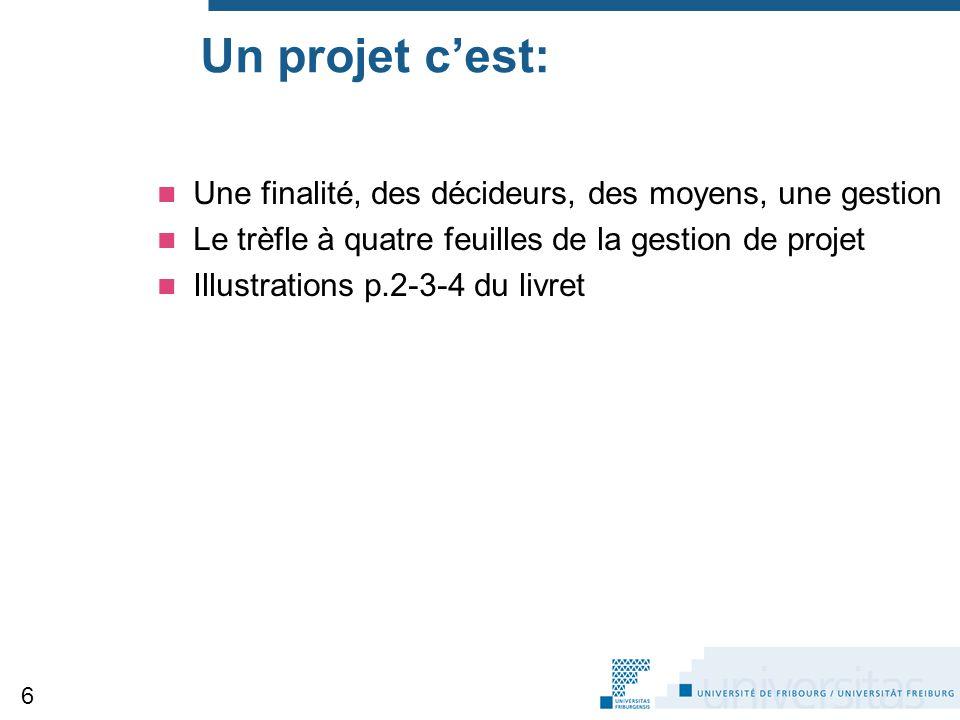 Un projet c'est: Une finalité, des décideurs, des moyens, une gestion