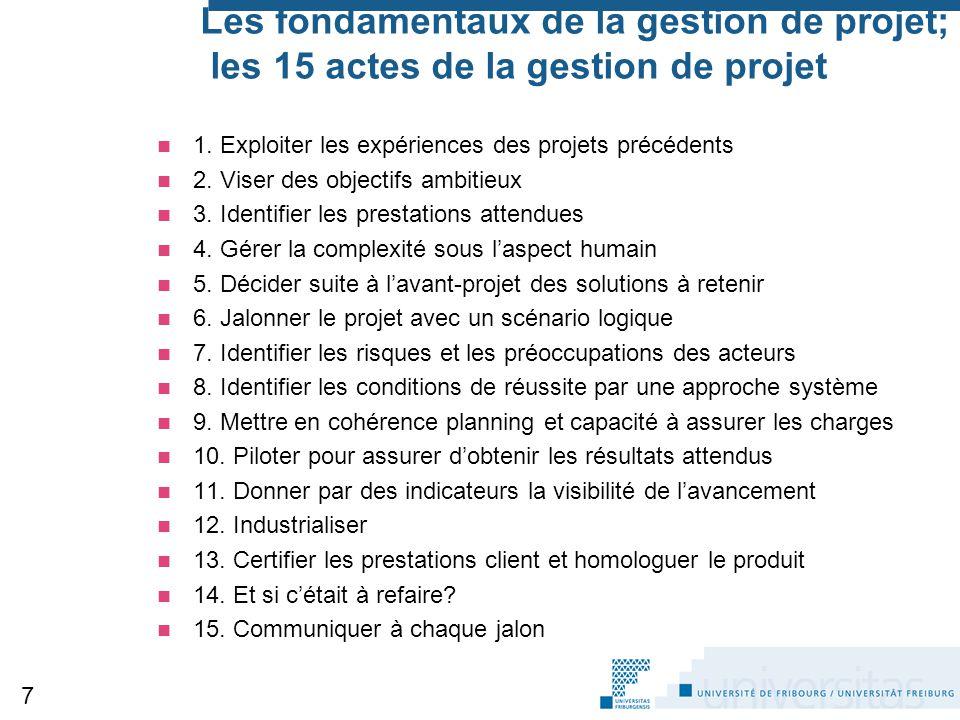 Les fondamentaux de la gestion de projet; les 15 actes de la gestion de projet