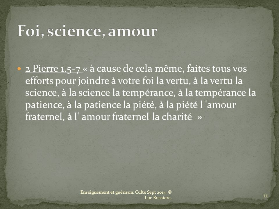 Foi, science, amour