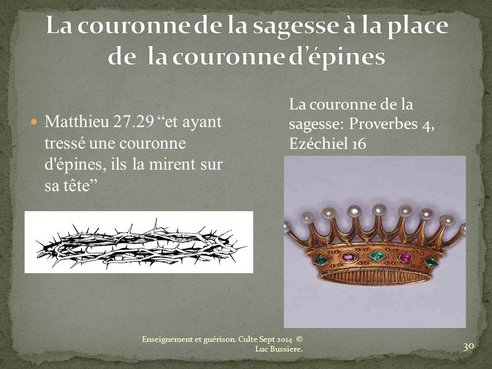 La couronne de la sagesse à la place de la couronne d'épines