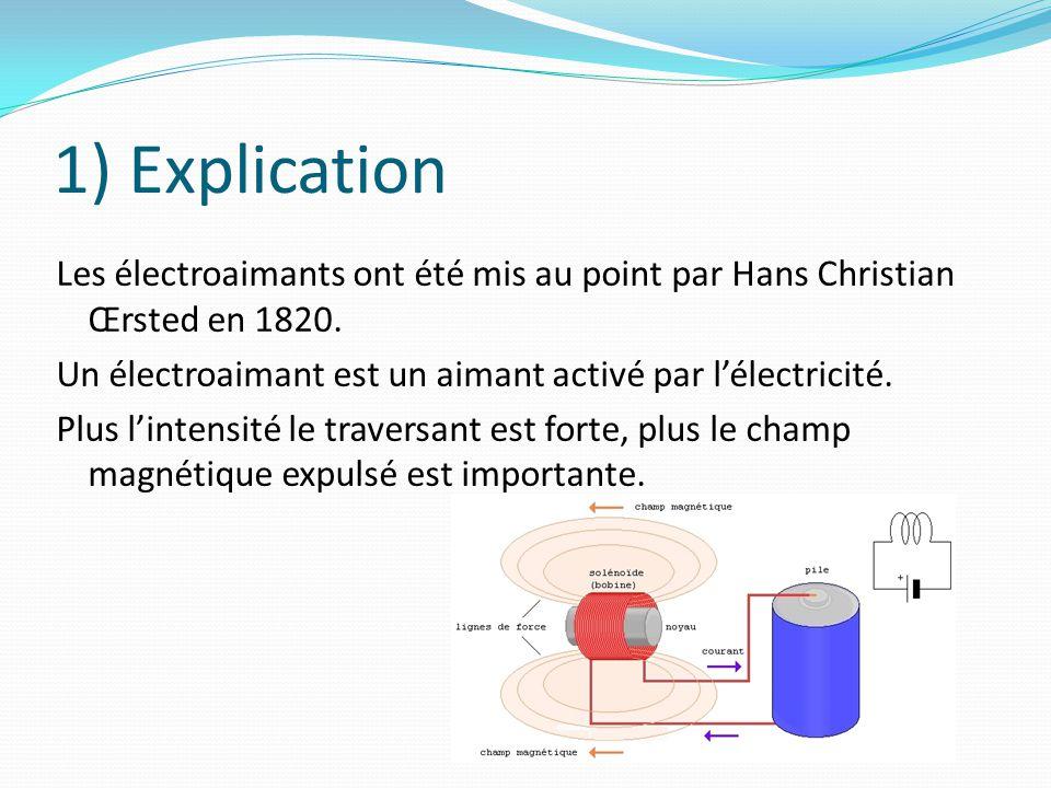 1) Explication Les électroaimants ont été mis au point par Hans Christian Œrsted en 1820. Un électroaimant est un aimant activé par l'électricité.