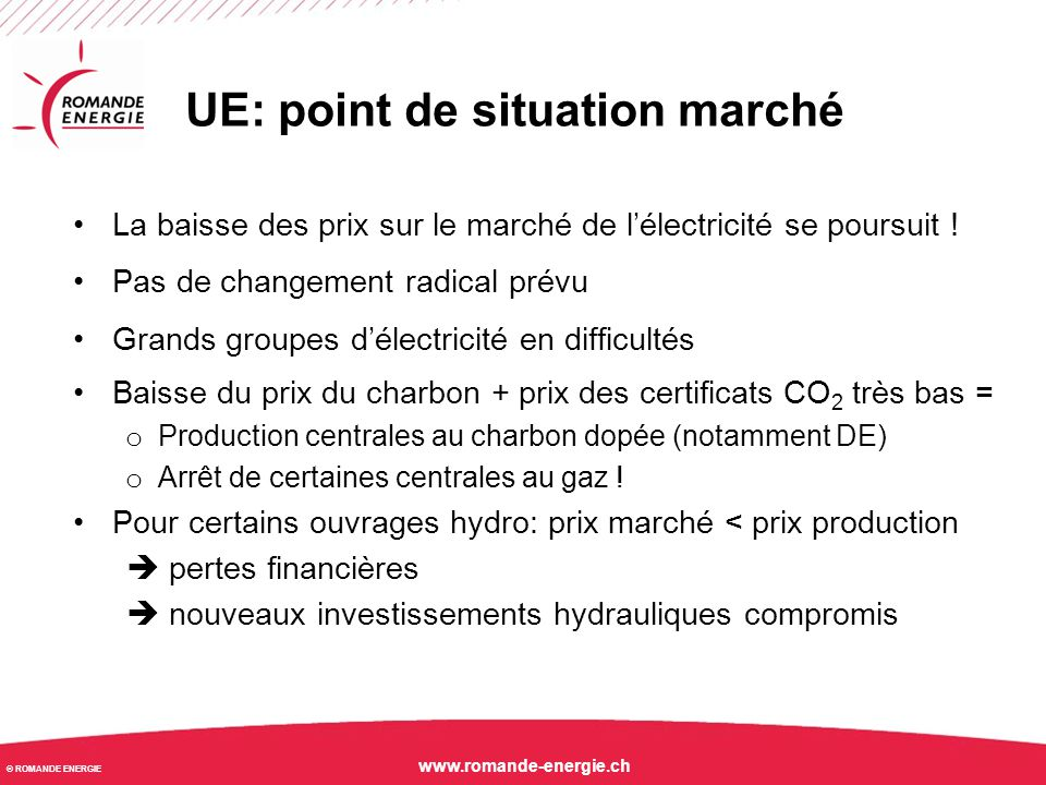 UE: point de situation marché