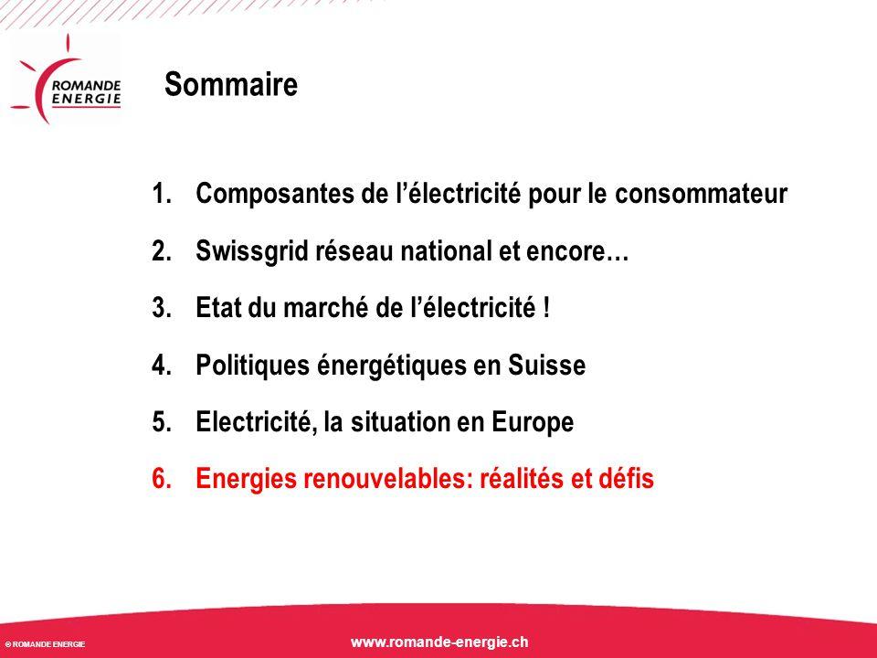 Sommaire Composantes de l'électricité pour le consommateur