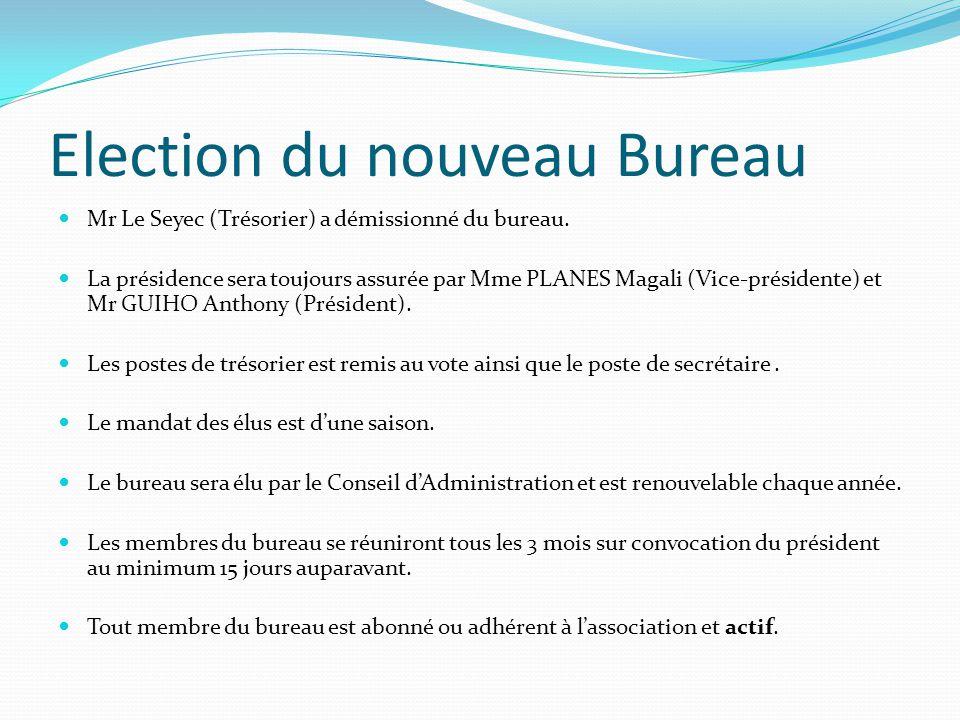 Election du nouveau Bureau