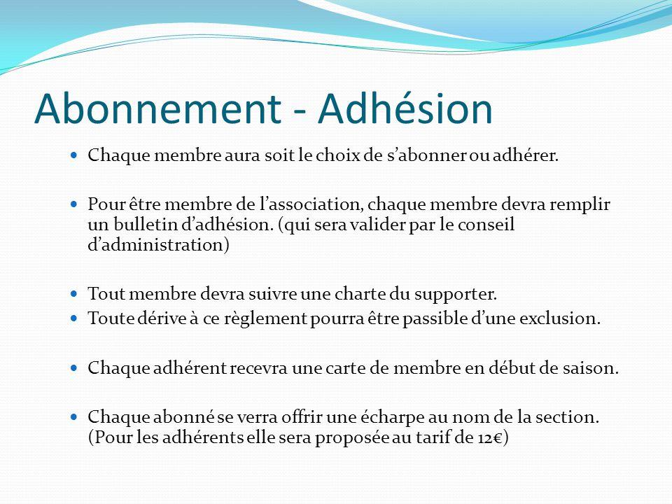 Abonnement - Adhésion Chaque membre aura soit le choix de s'abonner ou adhérer.