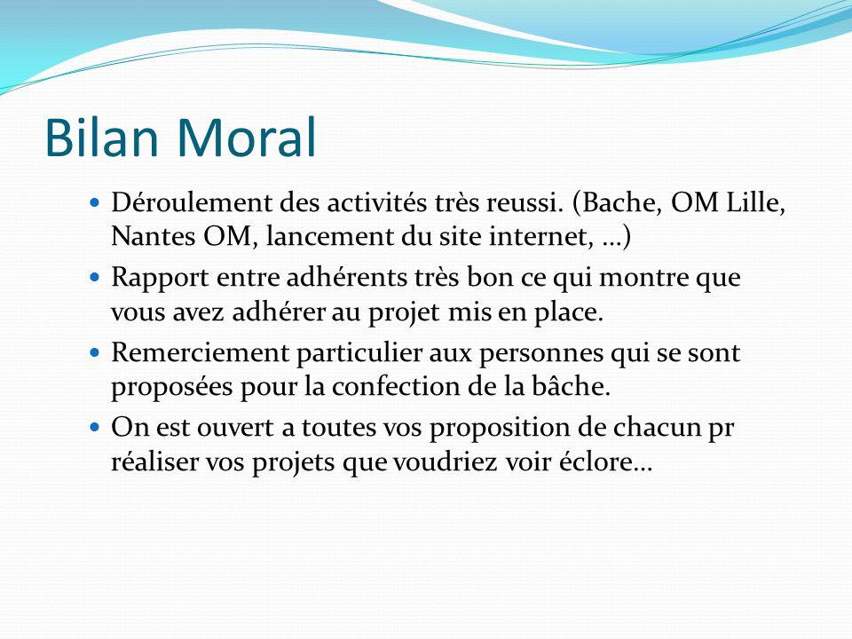 Bilan Moral Déroulement des activités très reussi. (Bache, OM Lille, Nantes OM, lancement du site internet, …)