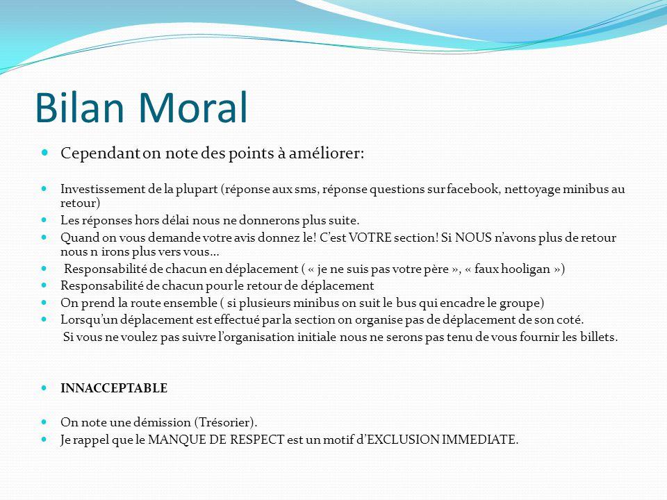Bilan Moral Cependant on note des points à améliorer: