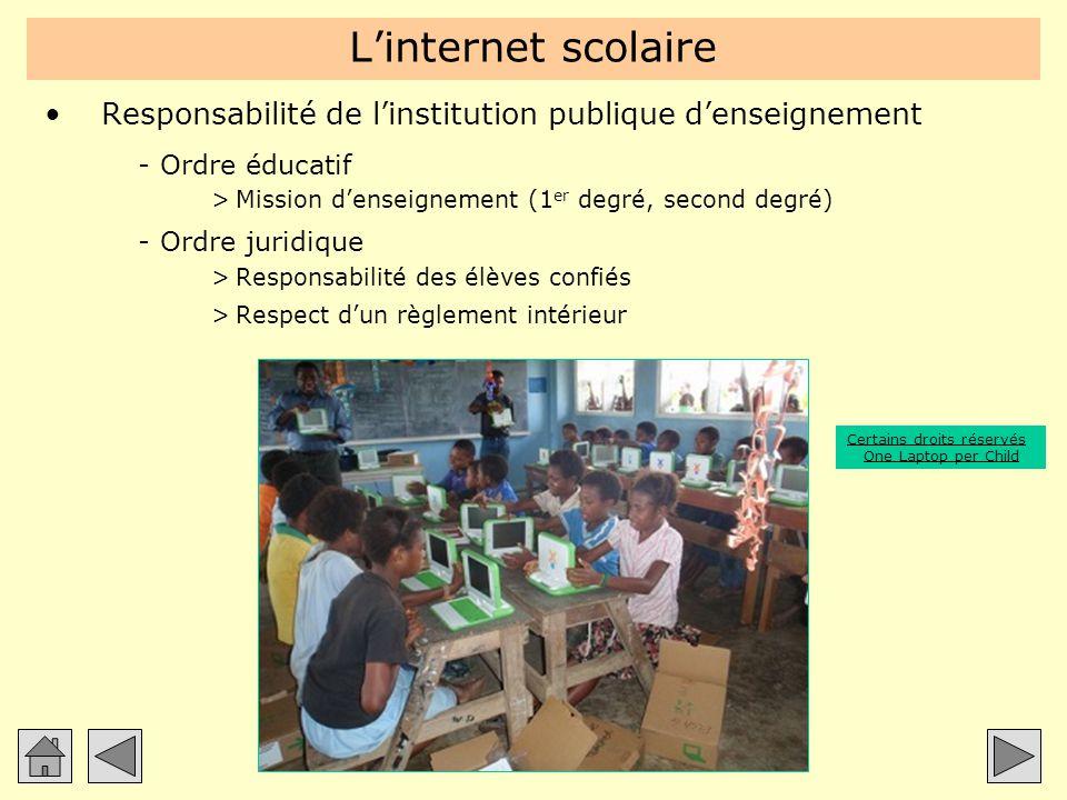 L'internet scolaire Responsabilité de l'institution publique d'enseignement. Ordre éducatif. Mission d'enseignement (1er degré, second degré)