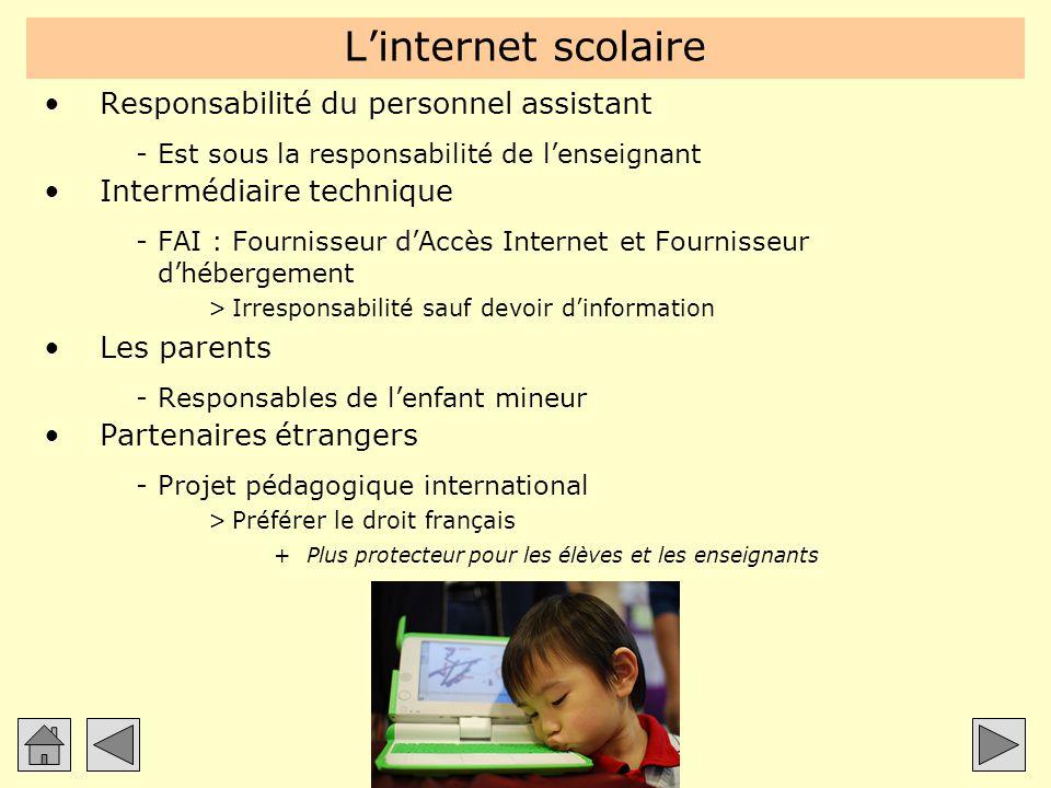 L'internet scolaire Responsabilité du personnel assistant