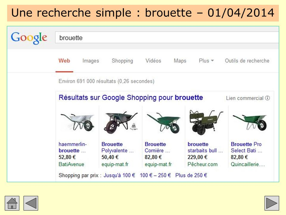 Une recherche simple : brouette – 01/04/2014