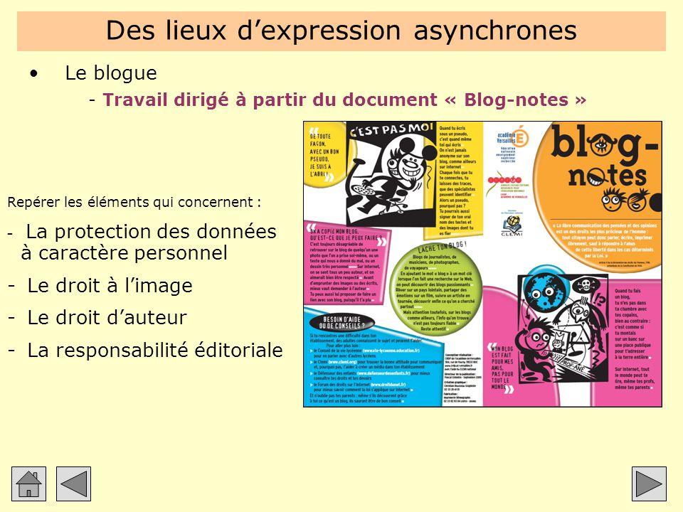 Des lieux d'expression asynchrones