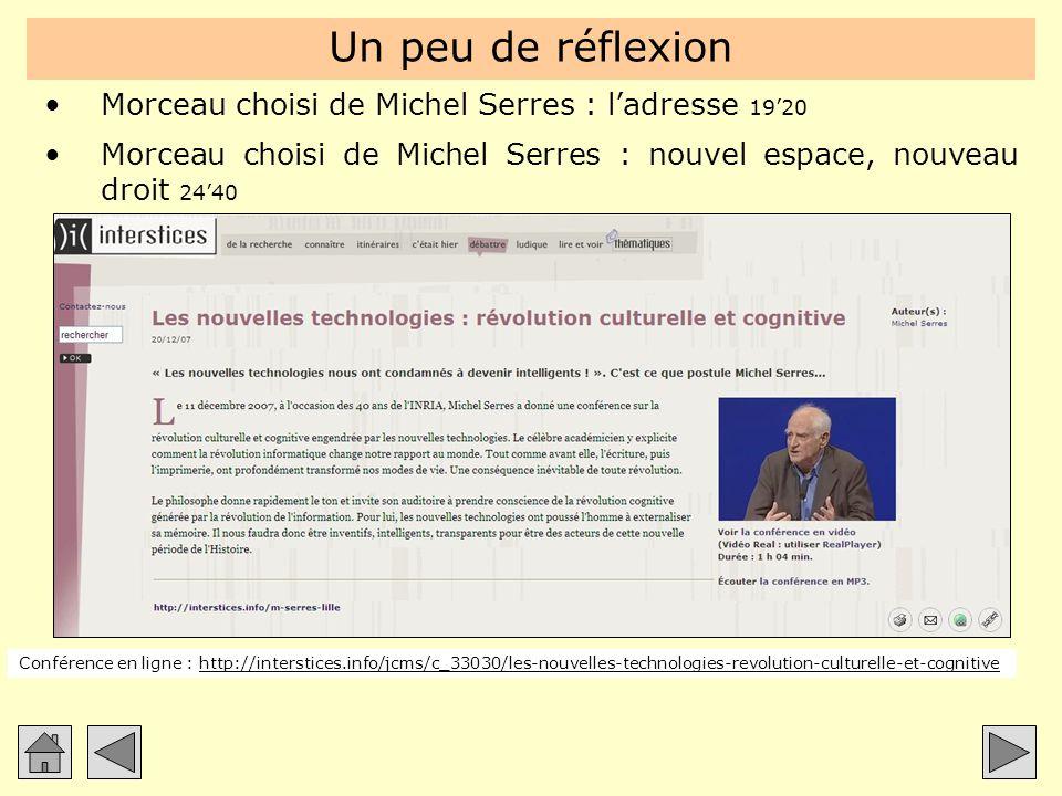 Un peu de réflexion Morceau choisi de Michel Serres : l'adresse 19'20