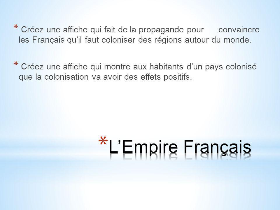 Créez une affiche qui fait de la propagande pour convaincre les Français qu'il faut coloniser des régions autour du monde.