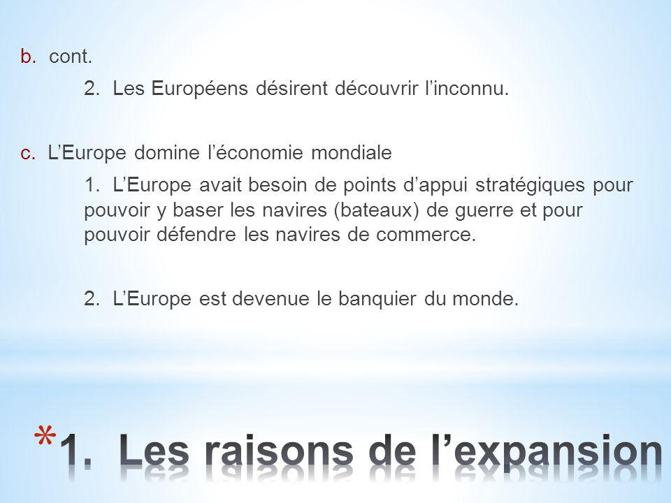1. Les raisons de l'expansion