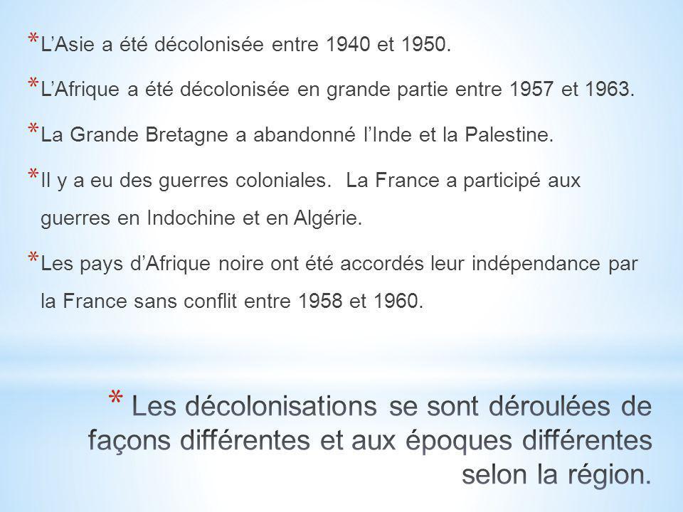 L'Asie a été décolonisée entre 1940 et 1950.