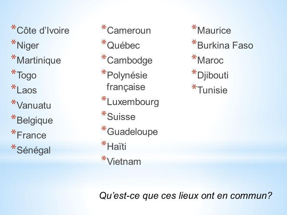 Côte d'Ivoire Cameroun. Maurice. Niger. Québec. Burkina Faso. Martinique. Cambodge. Maroc. Togo.