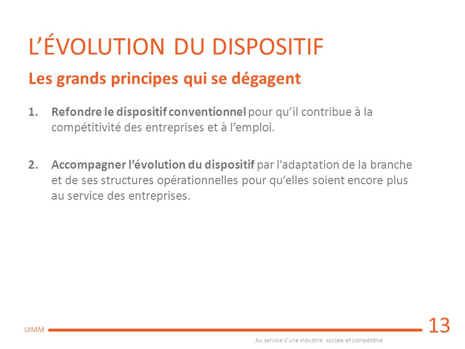 L'ÉVOLUTION DU DISPOSITIF