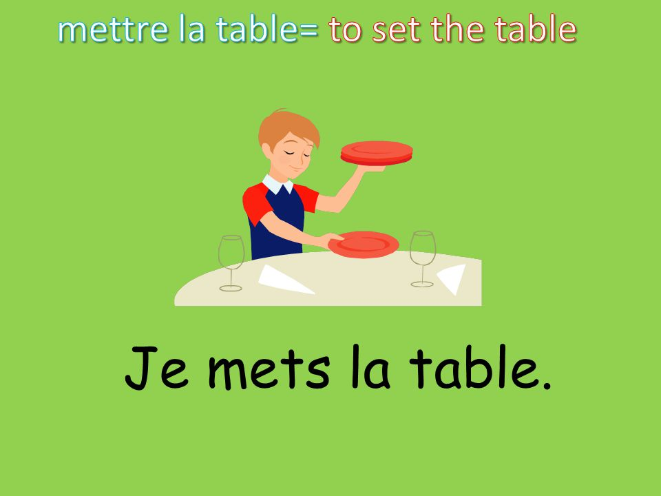 mettre la table= to set the table