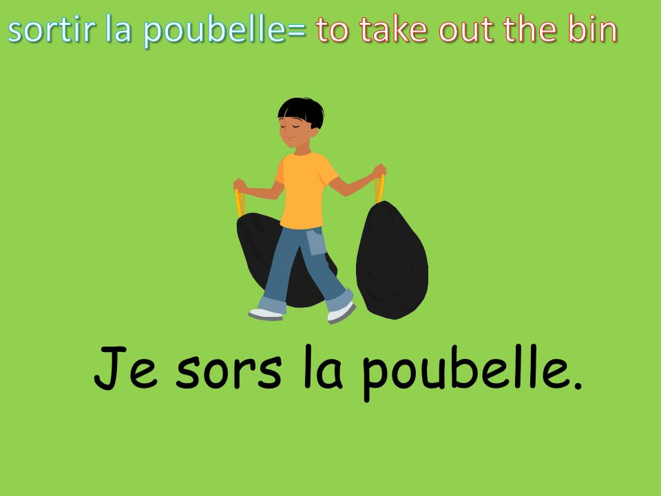 sortir la poubelle= to take out the bin