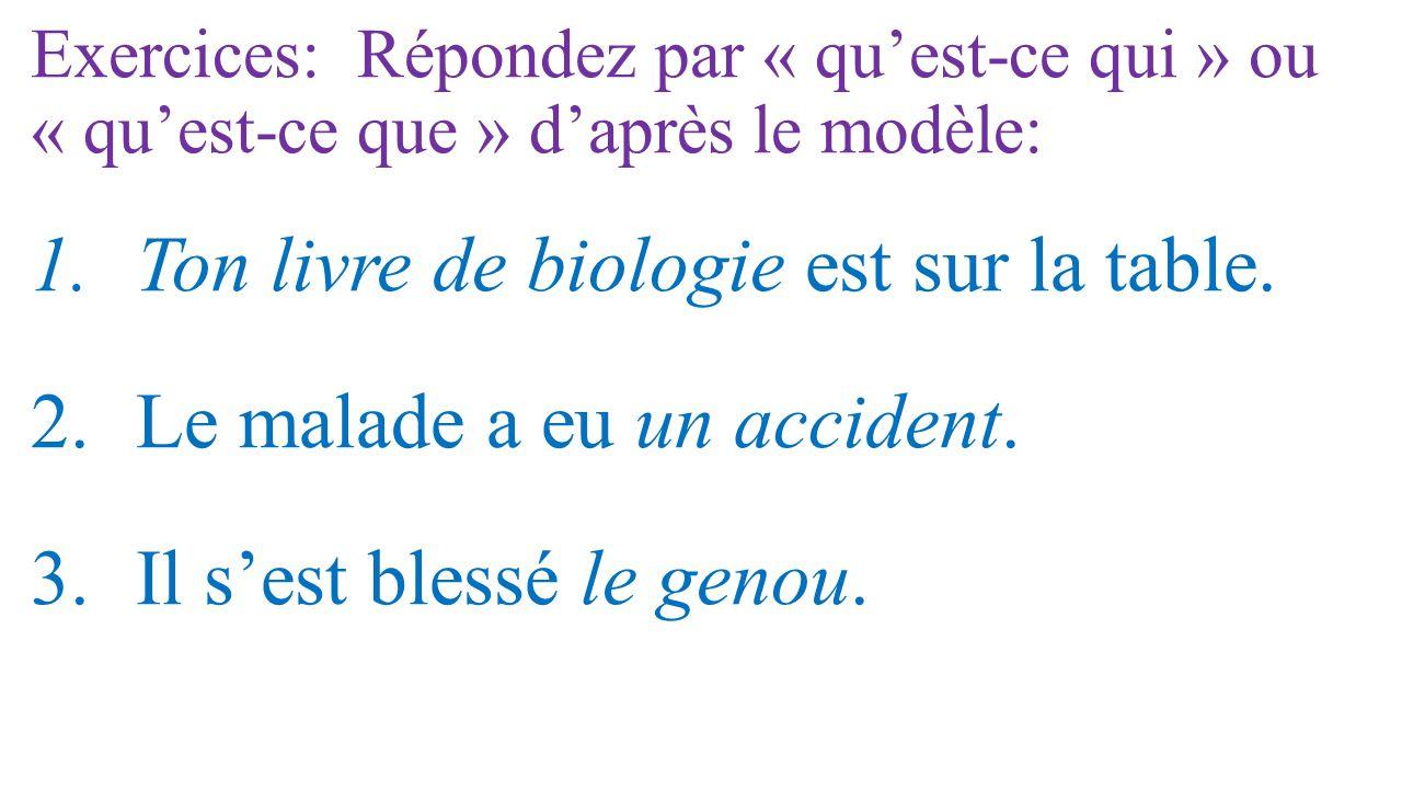 Ton livre de biologie est sur la table. Le malade a eu un accident.